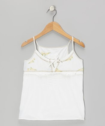 White Knit Flower Ruffle Camisole - Girls
