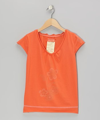 Jelly Orange Flower Cap-Sleeve Top