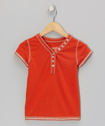 Popsicle Orange Vine Henley - Girls