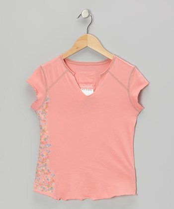 Crayon Pink Flower Wall V-Neck Top