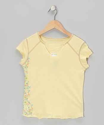 Shine Yellow Flower Wall V-Neck Top