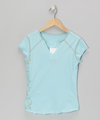 Swim Aqua Flower Wall V-Neck Top