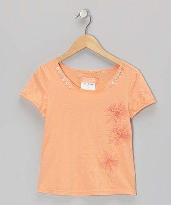 Goldfish Orange Knit Flower Button V-Neck Top