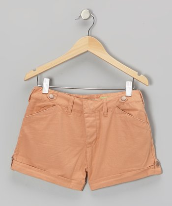 Copper Button Silk Shorts