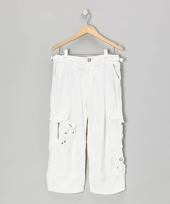 Optic White Button Silk Crop Cargo Pants
