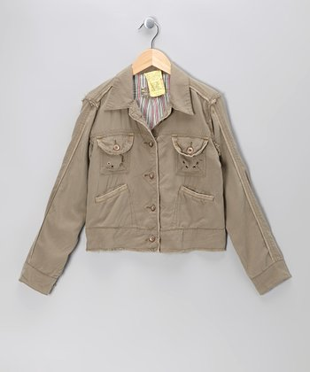 Clay Frayed Silk Button-Up Jacket