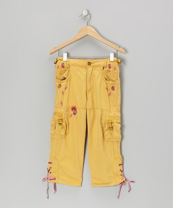 Cornflower Garden Cross-Tie Silk Crop Cargo Pants
