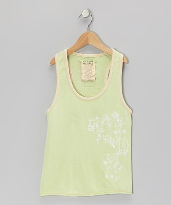 Sea Foam Green Mystic Flower Silk Tank