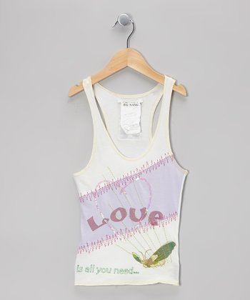 White 'Love is all You Need' Butterfly Tank