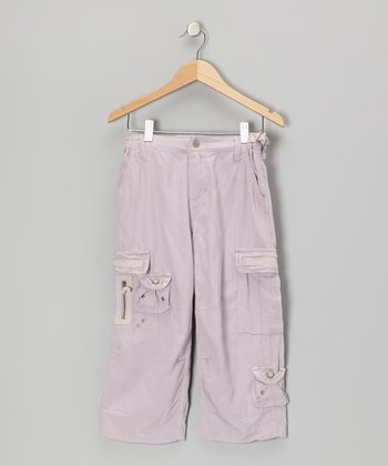Napa Pink Button Silk Crop Cargo Pants
