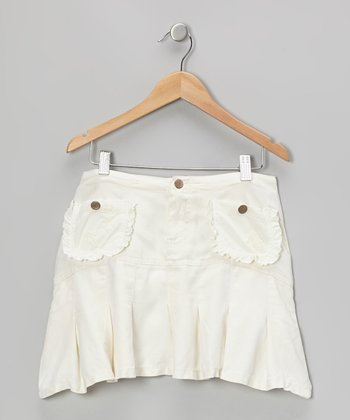 White Ruffle Silk Skirt