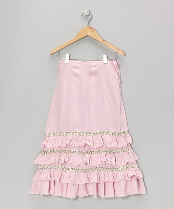 Bubblegum Pink Knit Flower Silk Ruffle Skirt