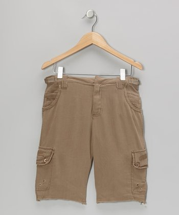 Ginger Brown Silk Cargo Bermuda Shorts