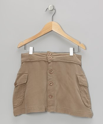 Ginger Brown Silk Button-Up Skirt