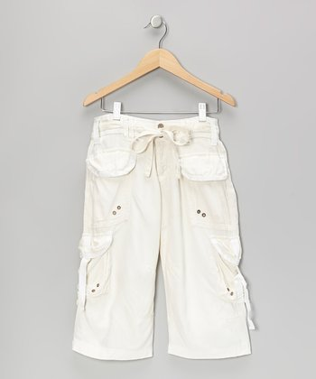 White Belted Silk Cargo Pants