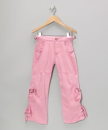 Cotton Candy Cross-Tie Silk Cargo Pants