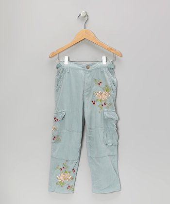 Indigo Knit Flower Silk Crop Cargo Pants