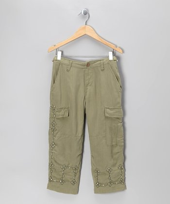Caper Sequin Flower Silk Crop Cargo Pants