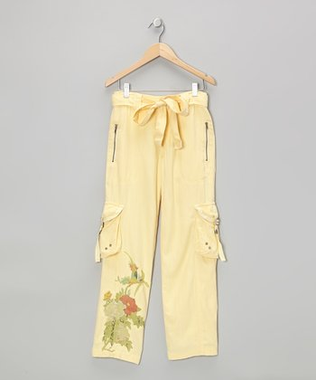 Shine Yellow Silk Cargo Pants