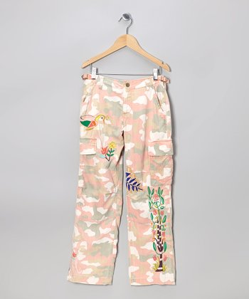 Peach Flower Bird Silk-Blend Cargo Pants - Girls