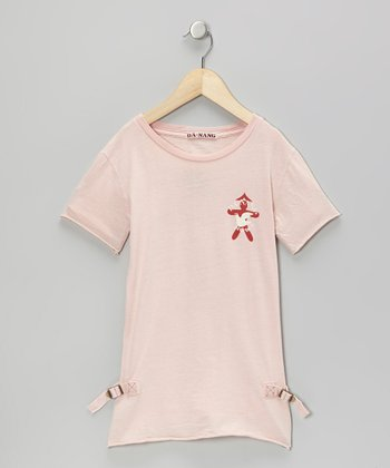 Pink Flower Man Tee - Girls