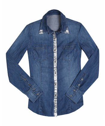 Double Dip Foil Denim Button-Up