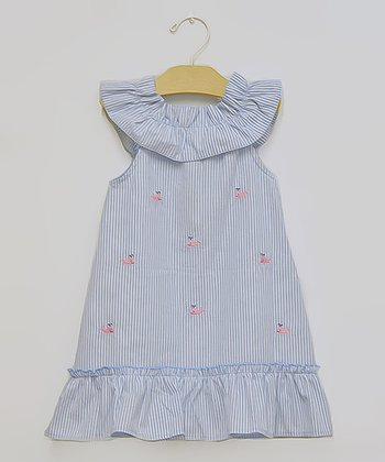 Blue Seersucker Whale Dress - Toddler & Girls