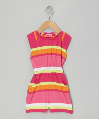 Pink & Orange Stripe Romper - Infant, Toddler & Girls