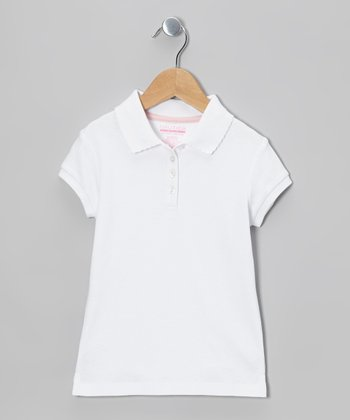 White Short-Sleeve Polo - Girls