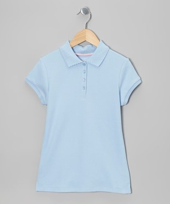 Light Blue Short-Sleeve Polo - Girls