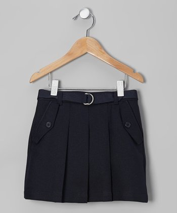 Navy Belted Scooter Skirt - Girls