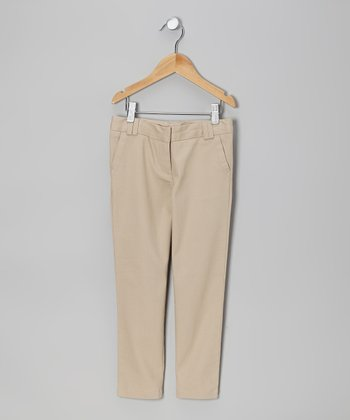 Khaki Stretch Skinny Pants - Girls