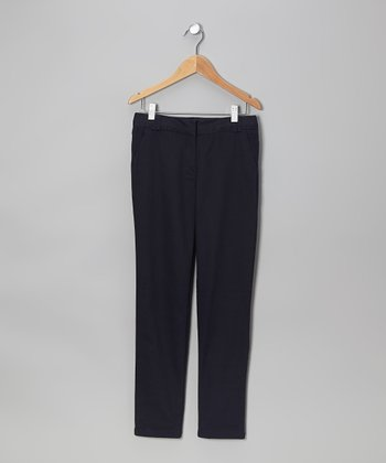 Navy Stretch Skinny Pants - Girls