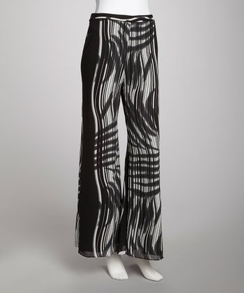 Black & White Wide-Leg Pants