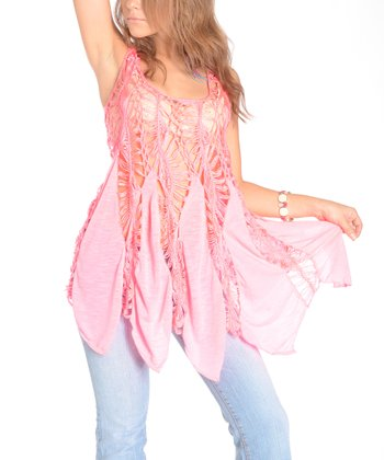 Pink Crocheted Sleeveless Scoop Neck Top - Women
