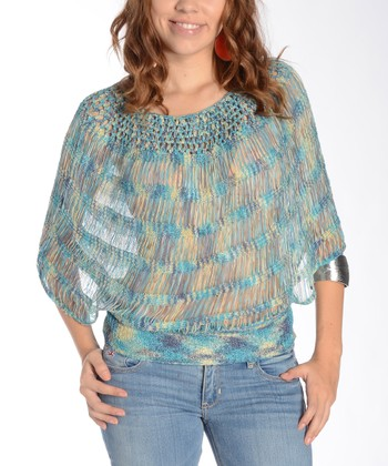 Blue Crocheted Cape-Sleeve Top - Women