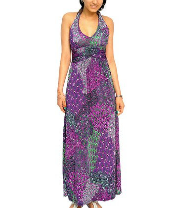 Purple Peacock Ruched Halter Maxi Dress - Women