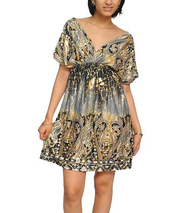 Gray Paisley Cape-Sleeve Surplice Dress