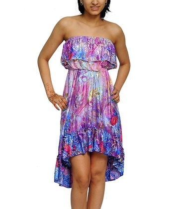Purple & Blue Hi-Low Strapless Dress - Women