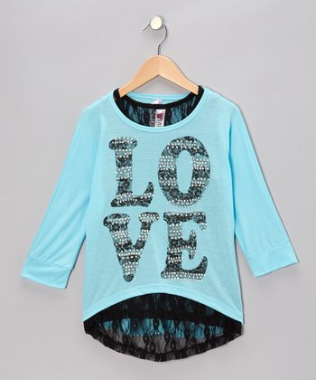 Miami Blue 'Love' Hi-Low Top & Lace Tank