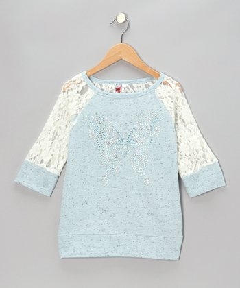 Blue Butterfly Lace-Sleeve Raglan Top