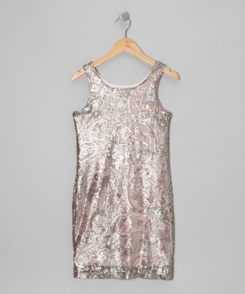 Silver & Blush Paisley Shift Dress - Girls