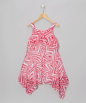 Pink & White Geometric Handkerchief Dress