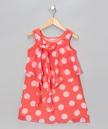 Coral Polka Dot Shift Dress - Toddler & Girls