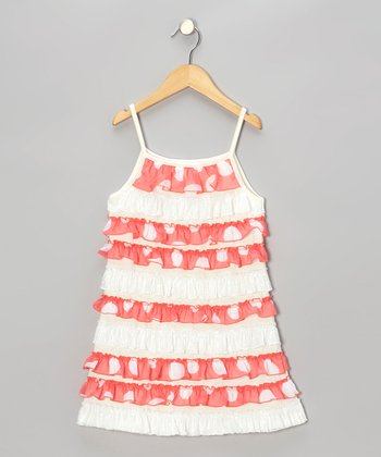 Coral & White Ruffle-Tier Dress - Toddler & Girls