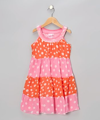 Pink & Orange Polka Dot Yoke Dress - Toddler & Girls
