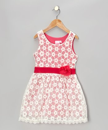 White & Pink Lace Dress - Toddler & Girls