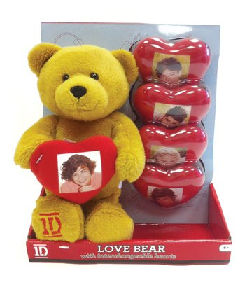 One Direction Bear Plush Toy & Hearts