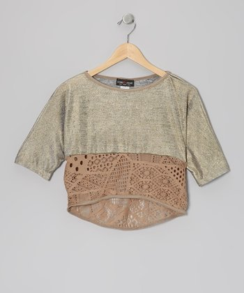 Brown Metallic & Crocheted Top
