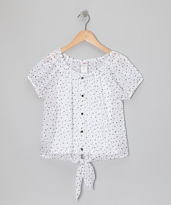 Black & White Star Tie Top